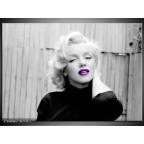 Glas Schilderij Marilyn Monroe | Grijs, Zwart Paars