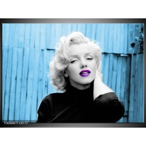 Canvas Schilderij Marilyn Monroe | Blauw, Zwart, Wit