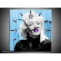 Wandklok Schilderij Marilyn Monroe | Blauw, Zwart, Wit