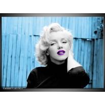 Glas Schilderij Marilyn Monroe | Blauw, Zwart, Wit