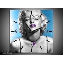 Wandklok Schilderij Marilyn Monroe   Blauw, Grijs, Paars