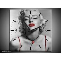 Wandklok Schilderij Marilyn Monroe   Grijs, Zwart, Rood