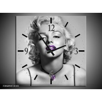 Wandklok Schilderij Marilyn Monroe | Grijs, Zwart, Paars