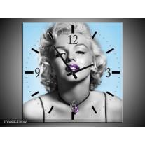Wandklok Schilderij Marilyn Monroe | Grijs, Blauw, Paars