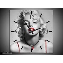 Wandklok Schilderij Marilyn Monroe   Grijs, Rood, Zwart