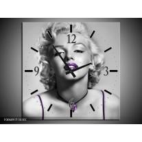 Wandklok Schilderij Marilyn Monroe | Grijs, Paars, Zwart