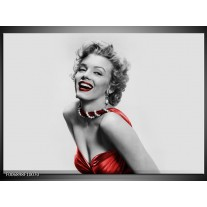 Canvas Schilderij Marilyn Monroe | Grijs, Rood, Zwart