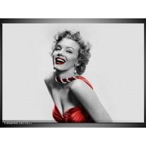 Glas Schilderij Marilyn Monroe | Grijs, Rood, Zwart