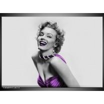Canvas Schilderij Marilyn Monroe | Grijs, Paars, Zwart