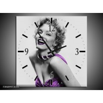 Wandklok Schilderij Marilyn Monroe   Grijs, Paars, Zwart