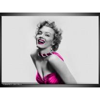 Glas Schilderij Marilyn Monroe | Grijs, Roze, Zwart