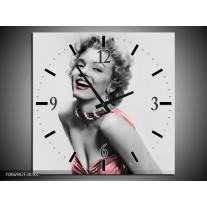 Wandklok Schilderij Marilyn Monroe | Grijs, Zwart