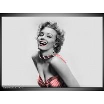 Glas Schilderij Marilyn Monroe | Grijs, Zwart