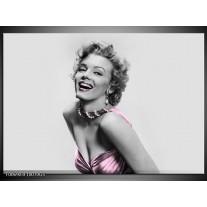 Glas Schilderij Marilyn Monroe | Grijs, Paars, Zwart