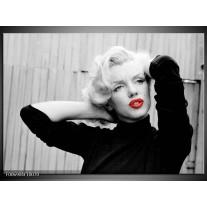 Canvas Schilderij Marilyn Monroe | Grijs, Zwart, Rood