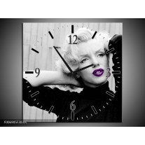 Wandklok Schilderij Marilyn Monroe   Grijs, Zwart, Paars