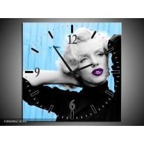 Wandklok Schilderij Marilyn Monroe | Blauw, Zwart, Paars