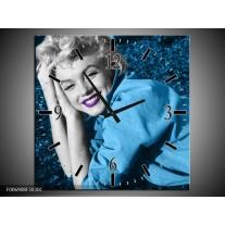 Wandklok Schilderij Marilyn Monroe   Blauw, Paars, Grijs