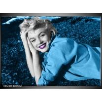 Glas Schilderij Marilyn Monroe | Blauw, Paars, Grijs