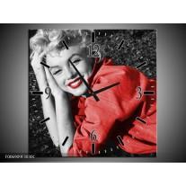 Wandklok Schilderij Marilyn Monroe | Zwart, Rood, Grijs