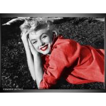 Glas Schilderij Marilyn Monroe | Zwart, Rood, Grijs