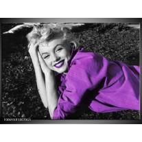 Glas Schilderij Marilyn Monroe | Zwart, Grijs, Paars