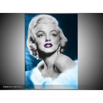 Glas Schilderij Marilyn Monroe | Grijs, Blauw, Paars