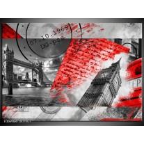 Glas Schilderij Engeland, London | Grijs, Rood, Zwart