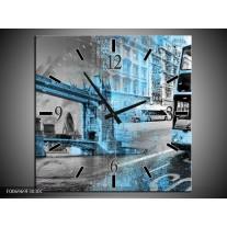 Wandklok Schilderij England, London   Grijs, Blauw, Zwart