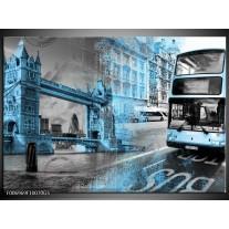 Glas Schilderij Engeland, London   Grijs, Blauw, Zwart