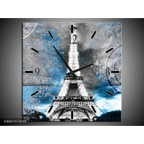 Wandklok Schilderij Parijs, Eiffeltoren | Grijs, Blauw, Zwart