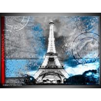 Glas Schilderij Parijs, Eiffeltoren | Grijs, Blauw, Zwart
