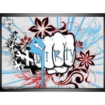 Glas Schilderij Popart | Grijs, Blauw, Rood