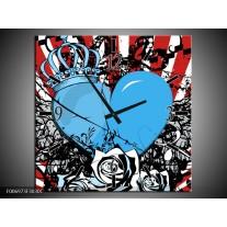 Wandklok Schilderij Popart, Hart   Blauw, Rood, Zwart