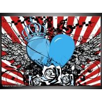 Glas Schilderij Popart, Hart | Blauw, Rood, Zwart