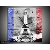 Wandklok Schilderij Parijs, Eiffeltoren   Grijs, Rood, Blauw