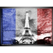 Glas Schilderij Parijs, Eiffeltoren | Grijs, Rood, Blauw