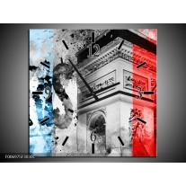 Wandklok Schilderij Parijs, Steden | Blauw, Rood, Grijs