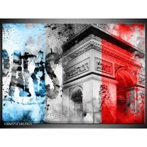 Glas Schilderij Parijs, Steden | Blauw, Rood, Grijs