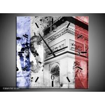 Wandklok Schilderij Parijs, Steden | Blauw, Rood, Zwart