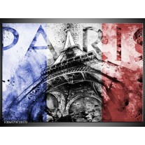 Canvas Schilderij Parijs, Eiffeltoren | Blauw, Rood, Zwart
