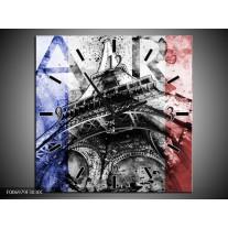 Wandklok Schilderij Parijs, Eiffeltoren   Blauw, Rood, Zwart