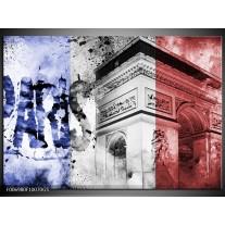 Glas Schilderij Parijs, Steden | Blauw, Rood, Zwart