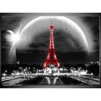 Glas Schilderij Parijs, Eiffeltoren | Zwart, Wit, Rood