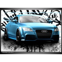 Glas Schilderij Audi, Auto | Blauw, Zwart, Grijs