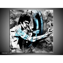Wandklok Schilderij Sport, Man | Grijs, Zwart, Blauw
