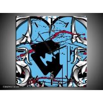 Wandklok Schilderij Popart, Hart | Grijs, Zwart, Blauw