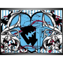 Glas Schilderij Popart, Hart | Grijs, Zwart, Blauw