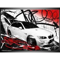 Canvas Schilderij Auto, BMW | Wit, Rood, Zwart