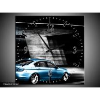 Wandklok Schilderij Auto | Grijs, Zwart, Blauw